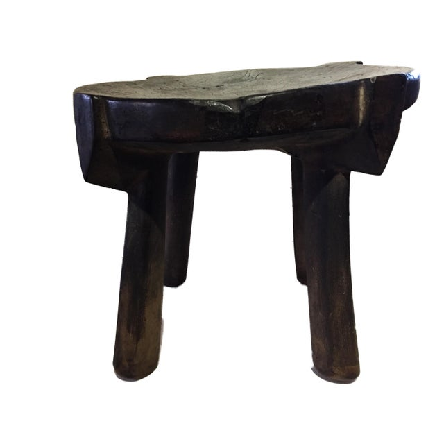 """African Old Carved Wood Milk Stool Hehe Gogo People Tanzania 10.25"""" H For Sale - Image 4 of 12"""