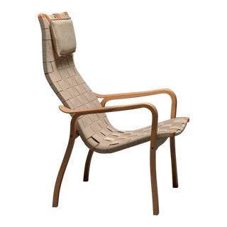 Beech and Webbing Lamino Lounge Chair by Yngve Ekstrom for Swedese For Sale