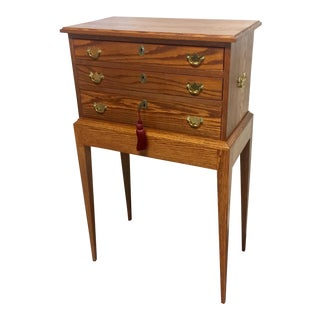 Elegant Tom Seely Solid Wood 3-Drawer Standing Chest For Sale