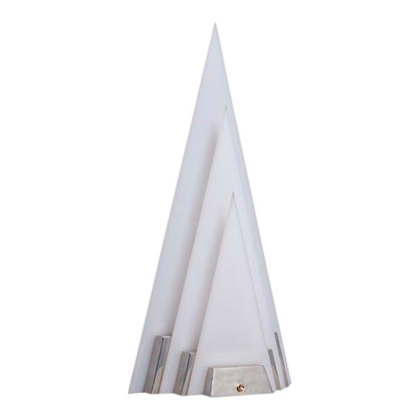 A Pyramid Shaped Aluminium and Acrylic Lamp Late 1970s For Sale
