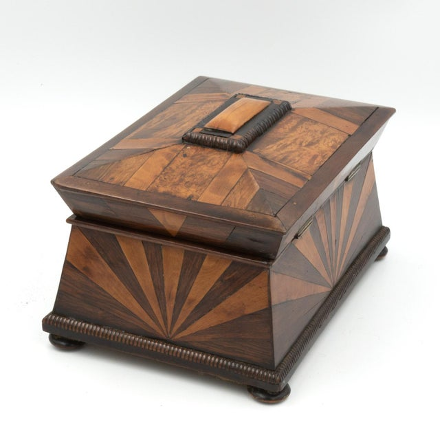Lovely Pagoda Shape Box With Sunburst Marquetry, English, Circa 1850. For Sale - Image 9 of 11