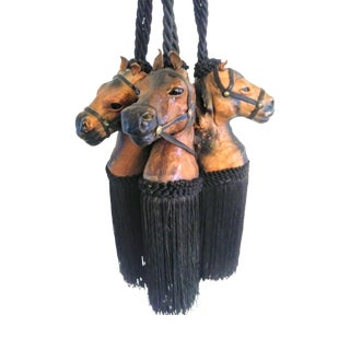 Vintage Leather Horse Head Large Black Brown Tie Back Tassels Set of 3 For Sale