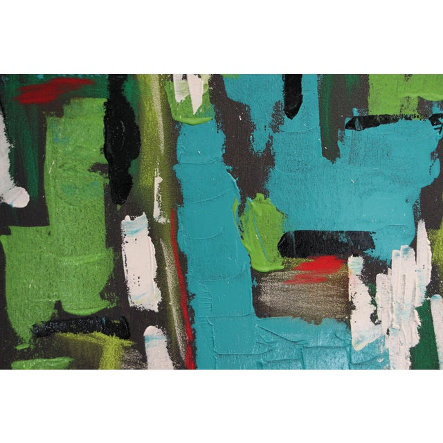 """Turquoise 2017 """"BU 4"""" Abstract Acrylic Painting For Sale - Image 8 of 10"""