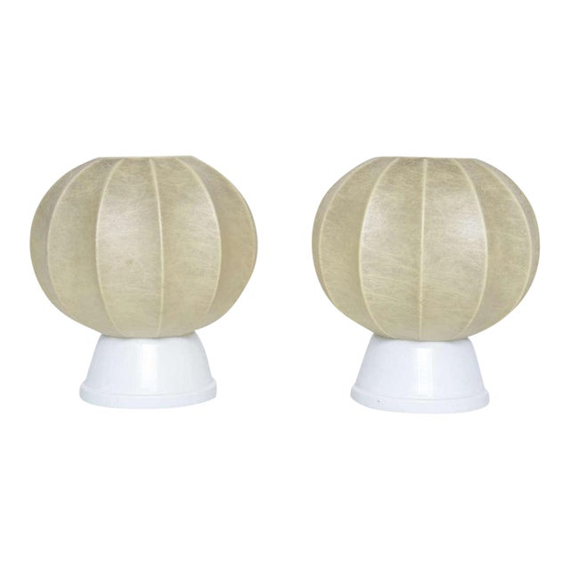 Pair of 60's German Table Lamps in the Manner of George Nelson For Sale