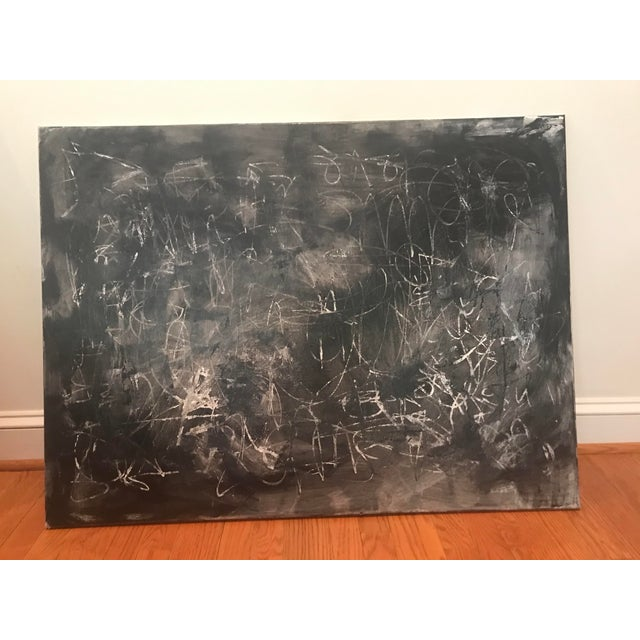 Layers of black and white acrylic are alternately and repeatedly applied and scratched through to create this bold, moody,...