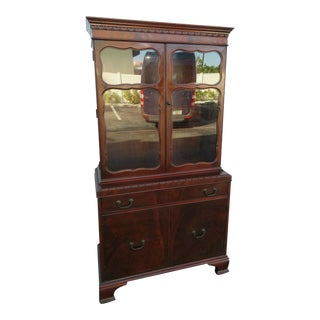 1940s Vintage Flame Mahogany China Cabinet For Sale