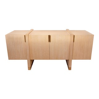 Custom Cerused Oak and Bronze Credenza For Sale