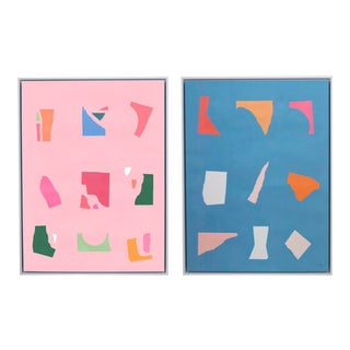 Pop of Color Framed Art - a Pair For Sale