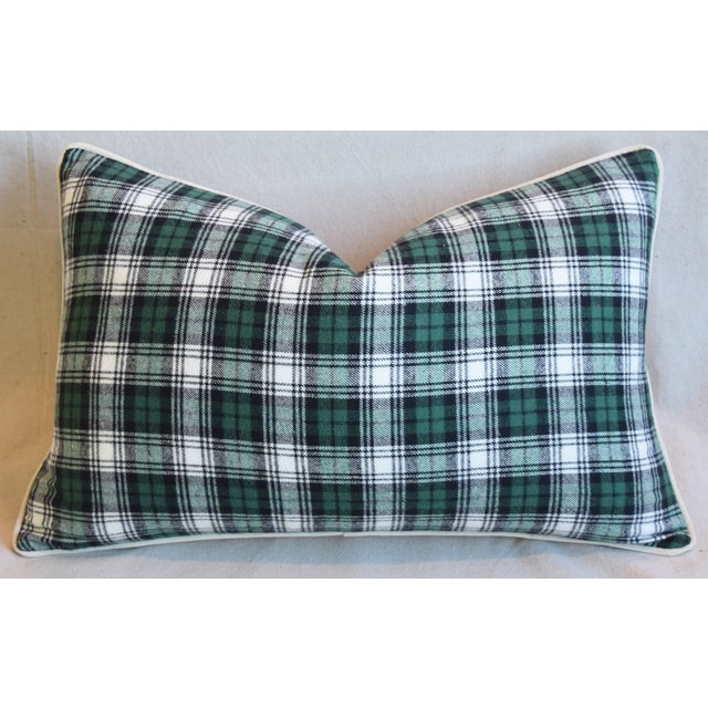 Green, Black & White Tartan Plaid Feather/Down Pillow For Sale - Image 4 of 7
