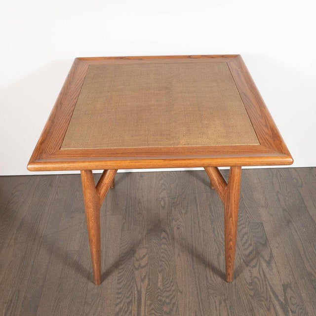 Mid-Century Modern Mid-Century Modern Sculptural White Oak Table With Wrapped Linen Top For Sale - Image 3 of 10