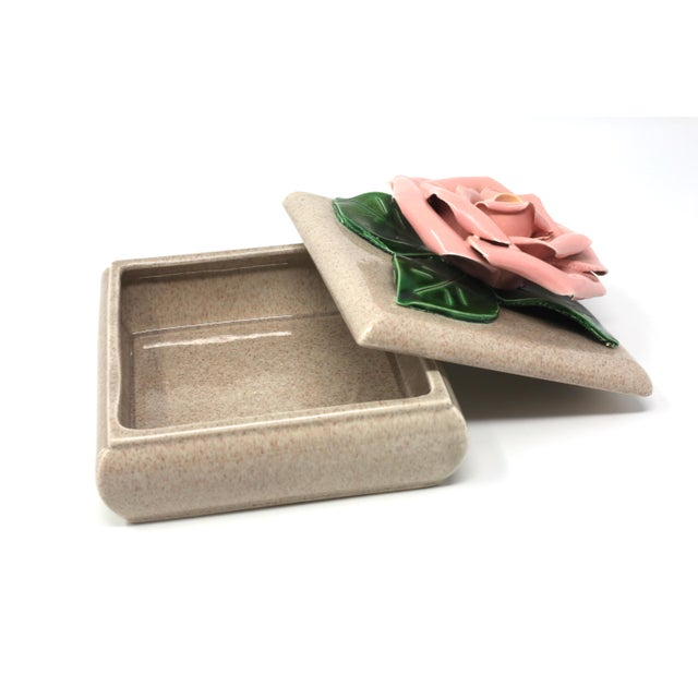 Gorgeous 1971 Chanel Inspired Camellia Ceramic Square Lidded Dish For Sale - Image 4 of 11