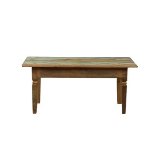 Reclaimed Wood Small Bench for End of Dining Table
