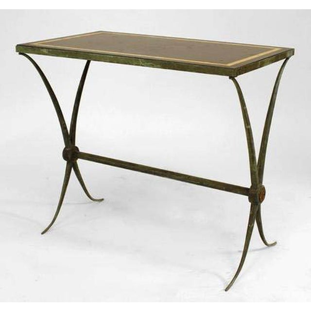 French Art Deco Green Patinated Bronze End Table For Sale In New York - Image 6 of 6