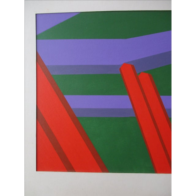 Abstract Geometric Acrylic Painting For Sale - Image 7 of 7