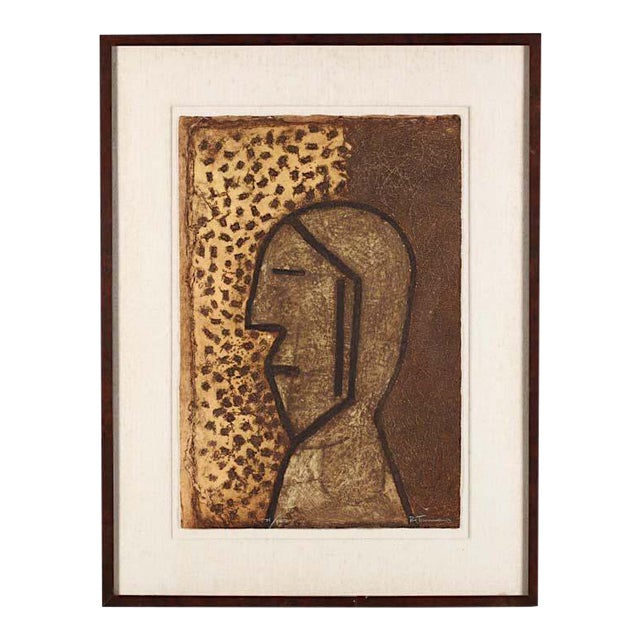 "Vintage Signed & Numbered Ltd. Ed. Abstract Mixograph-""Perfil""-Rufino Tamayo-Latin American Artist For Sale"