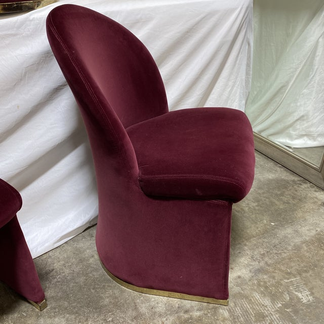 1980s Contemporary Velvet & Brass Dining Chairs - Set/6 For Sale - Image 5 of 12