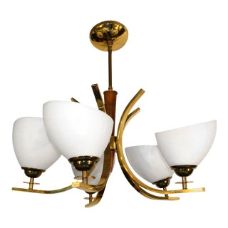 Modern Brass Five-Light Chandelier with Teak Details For Sale