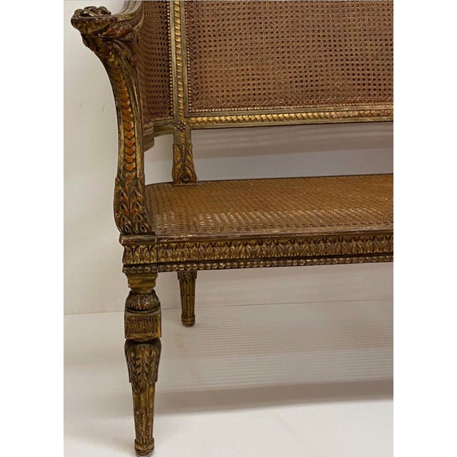 19th Century French Napoleonic Double Caned and Giltwood Settee For Sale - Image 12 of 13