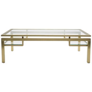 Mid Century Brass Coffee Table by Guy Lefevre for Maison Jansen, 1970s For Sale