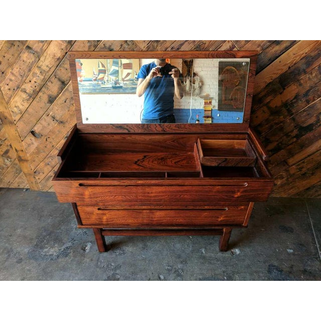 Mid Century Danish Rosewood Vanity Flip Up Mirror Dresser Danish, rosewood, plenty of storage and compartments as shown,...