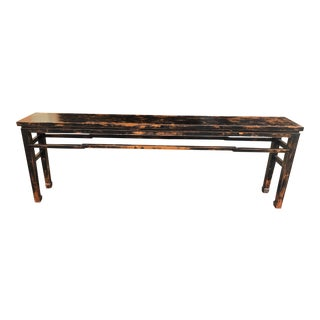 """96"""" Distressed Black Console Table For Sale"""