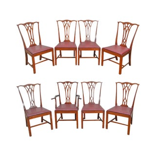 Chippendale Style Vintage 1940s Solid Mahogany Dining Chairs - Set of 8