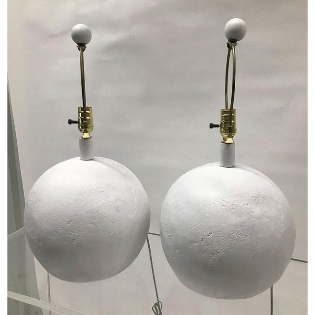 1970s Plaster Sphere Lamps — a Pair For Sale In Atlanta - Image 6 of 11