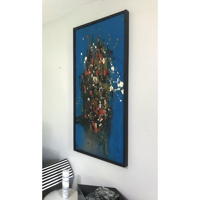 Abstract Mid Century Modern Abstract Expressionist Original Painting Style of Jackson Pollock For Sale - Image 3 of 8