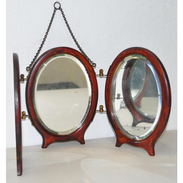 English Traditional Antique Tri Fold Traveling Vanity Mirror c.1910 For  Sale - Image 3 - Antique Tri Fold Traveling Vanity Mirror C.1910 Chairish