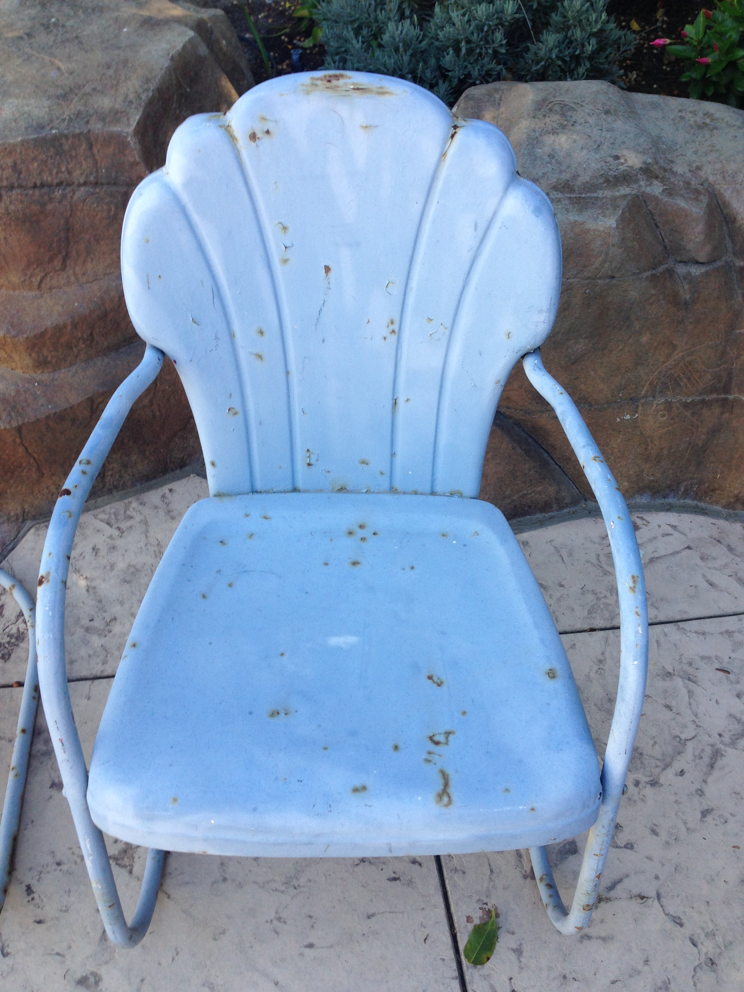 Bon Primitive Shellback Metal Motel Chairs   A Pair For Sale   Image 3 Of 9