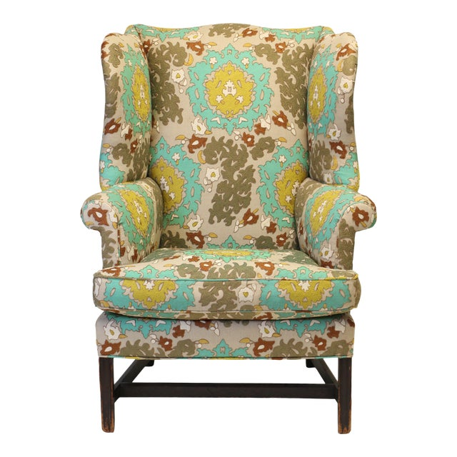 """English Georgian Style Wing Chair in Clarence House """"Suzani"""" Style Fabric For Sale"""