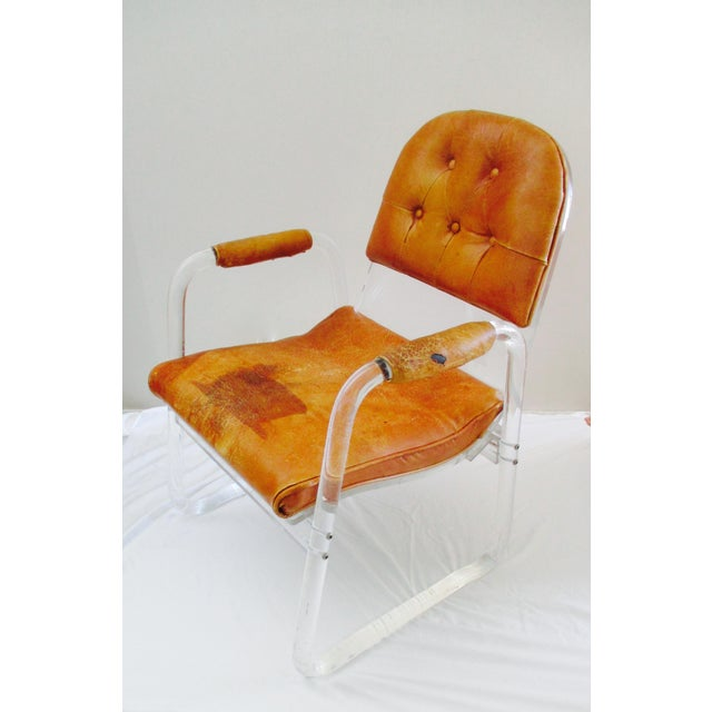 Late 20th Century Hill Manuf Lucite and Leather Club Chair - Custom Piece For Sale - Image 5 of 13