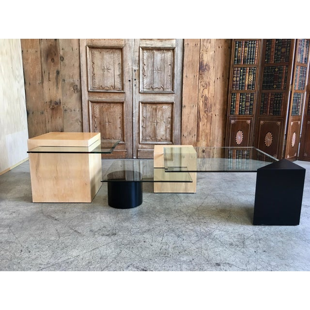 Very versatile geometric wood shapes two are in a natural maple and two have been ebonized with glass surfaces in...