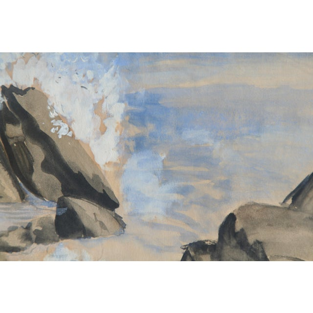 Mid 20th Century Vintage Watercolor of Coastal Seascape For Sale - Image 5 of 6