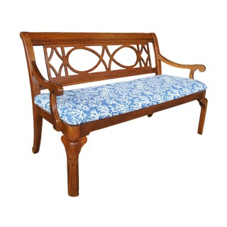 Alexander Julian for Universal Furniture Mahogany Blue Seat Settee For Sale