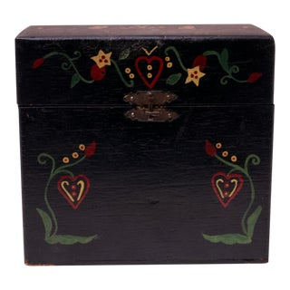 Early 20th Century Folk Art Hand-Painted Recipe Box For Sale