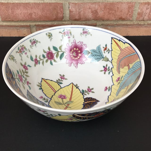"10"" large salad serving bowl, Tobacco Leaf pattern by Seymour Mann. Vibrant genus nicotine leaves and flowers adorn the..."