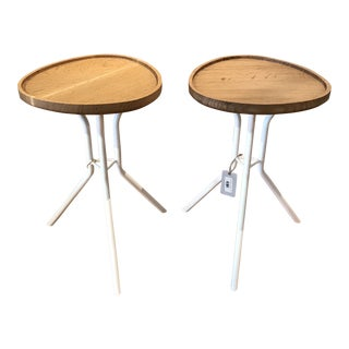 Scandinavian Metal & Oak Removable Tray End Tables - One Left For Sale