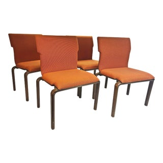 Mid Century Modern Orange Upholstered Bentwood Dining Chairs - Set of 4