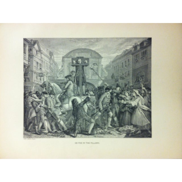 "This is an antique black and white print on paper that is titled ""De Foe in the Pillory"". The print is in good condition..."