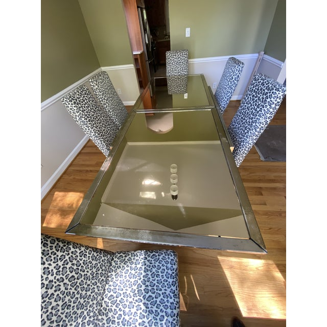 Mastercraft 1970s Mastercraft Brass Expandable Dining Table & Mastercraft Leopard Chairs With Brass Legs - Set of 7 For Sale - Image 4 of 13