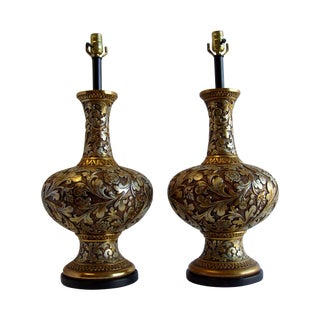 Hollywood Regency Rococo Table Lamps by Fortune - a Pair