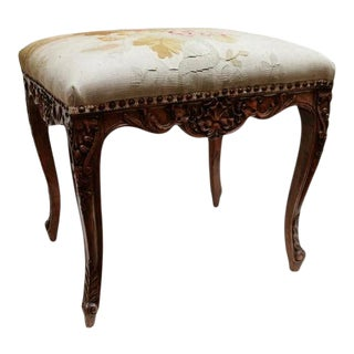 19th Century French Bench with Aubusson For Sale