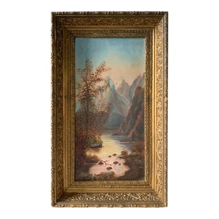 Antique Oil Painting - a River and Mountains - Signed, in Gilt Wood Frame For Sale