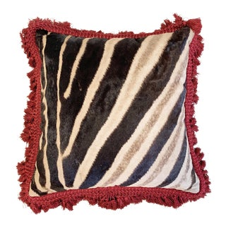 "One of a Kind Zebra Pillow, 19"" For Sale"