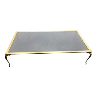 Hollywood Regency Brass & Glass Cocktail Table For Sale