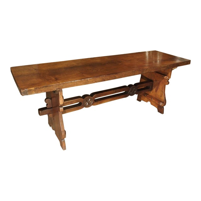 Antique Walnut Refectory Table From Tuscan Mountain Region C. 18th Century For Sale