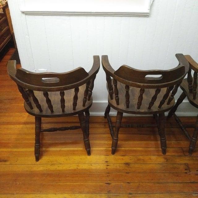 1950s Vintage Yugoslavian Barrel Back Windsor Captain Chairs - Set of 4 For Sale - Image 4 of 8