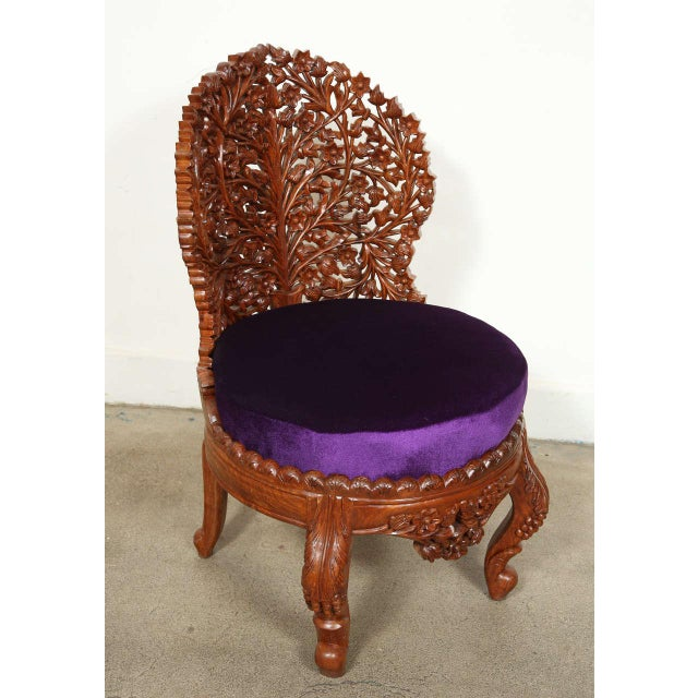 Anglo-Raj Carved Wood Side Lounge Chairs - a Pair For Sale - Image 12 of 13