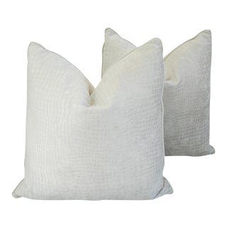 "Boho Chic Bone White Crocodile Velvet Feather/Down Pillows 24"" Square - Pair For Sale"